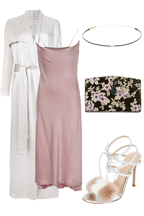 what-to-wear-for-a-winter-wedding-guest-outfit-pink-light-dress-slip-white-jacket-coat-trench-white-shoe-sandalh-black-bag-clutch-choker-necklace-dinner.jpg