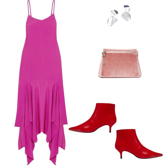 pink-magenta-dress-slip-red-shoe-booties-pink-bag-earrings-tonal-spring-summer-dinner.jpg