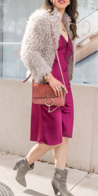 pink-magenta-dress-slip-grayl-jacket-coat-fur-fuzz-pink-bag-gray-shoe-booties-howtowear-fall-winter-hairr-dinner.jpg