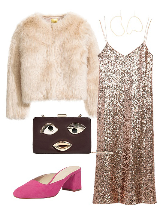 tan-dress-slip-sequin-white-jacket-coat-fur-magenta-shoe-pumps-mules-howtowear-fashion-style-outfit-fall-winter-holiday-brown-bag-clutch-girlsnightout-dinner.jpg