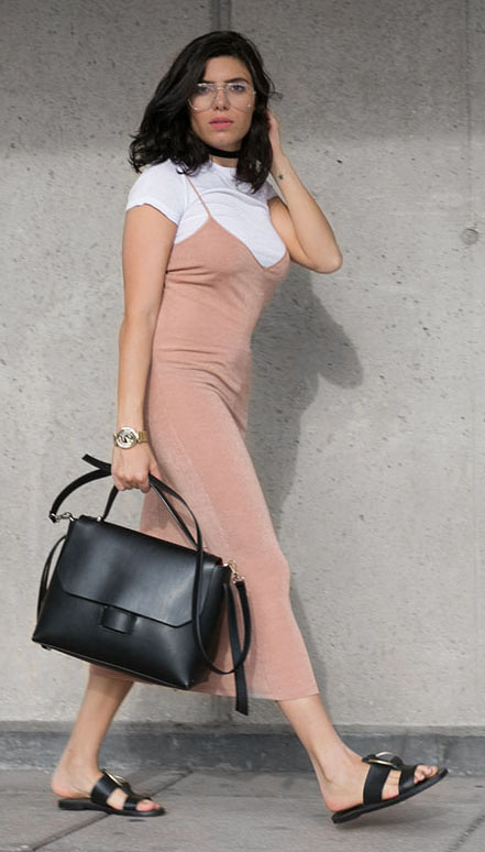 peach-dress-slip-black-shoe-sandals-black-bag-choker-white-tee-layer-spring-summer-brun-weekend.jpg