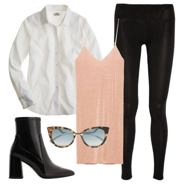 peach-dress-slip-white-collared-shirt-sun-layer-black-shoe-booties-black-leggings-howtowear-fall-winter-lunch.jpg