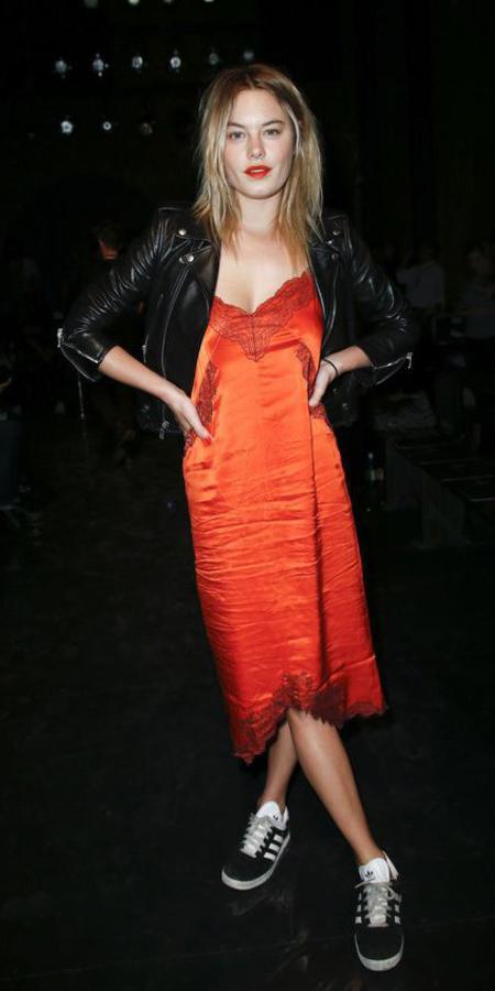 orange-dress-slip-black-jacket-moto-black-shoe-sneakers-howtowear-fall-winter-blonde-dinner.jpg
