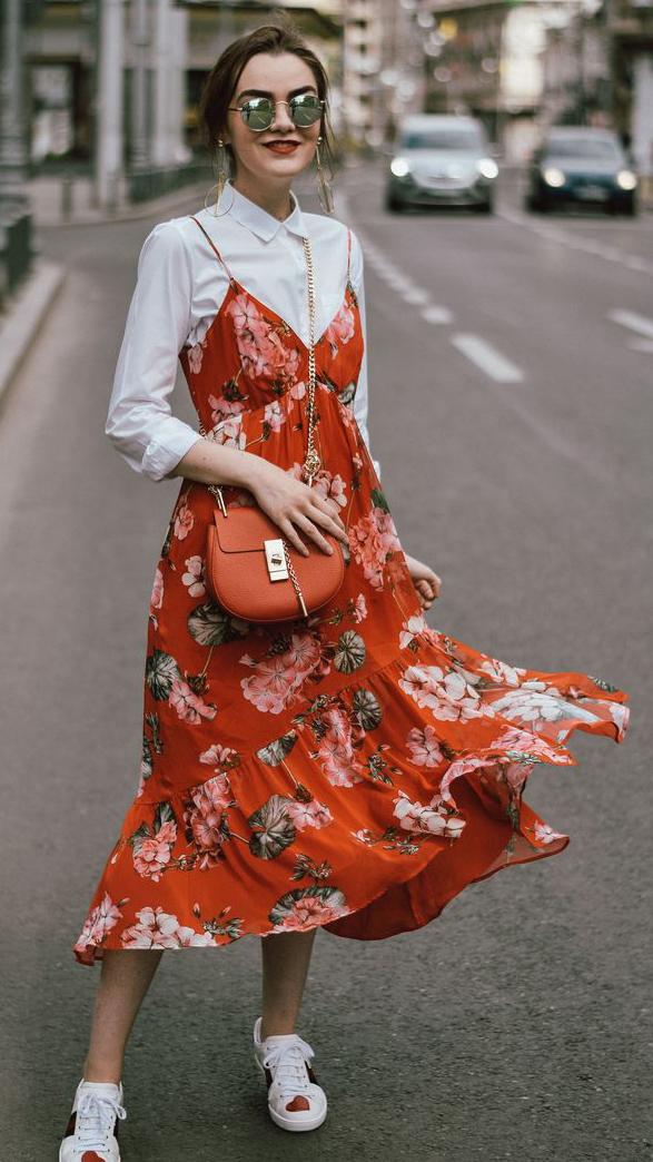 orange-dress-slip-tank-white-collared-shirt-floral-print-white-shoe-sneakers-sun-bun-earrings-orange-bag-sun-howtowear-spring-summer-hairr-lunch.jpg