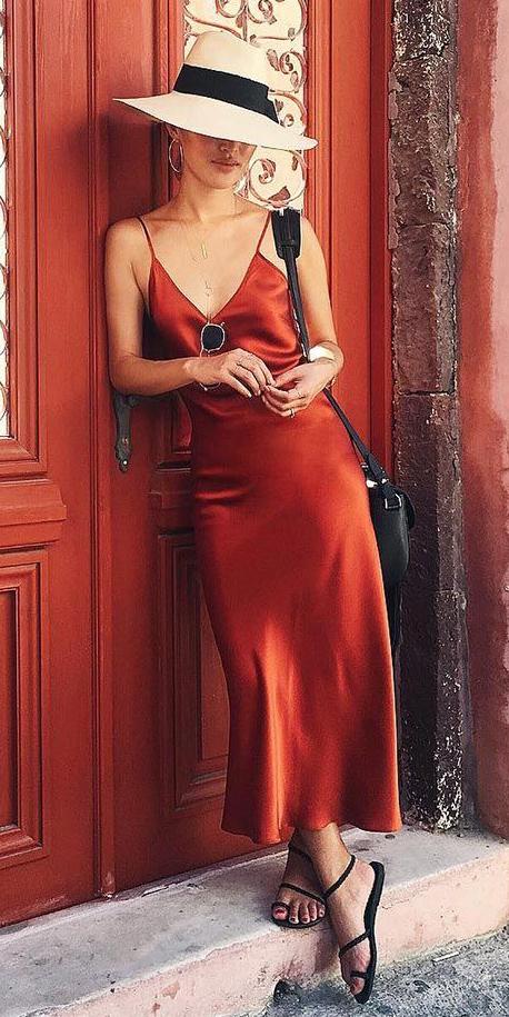 orange-dress-slip-hoops-hat-panama-black-bag-black-shoe-sandals-howtowear-spring-summer-weekend.jpg