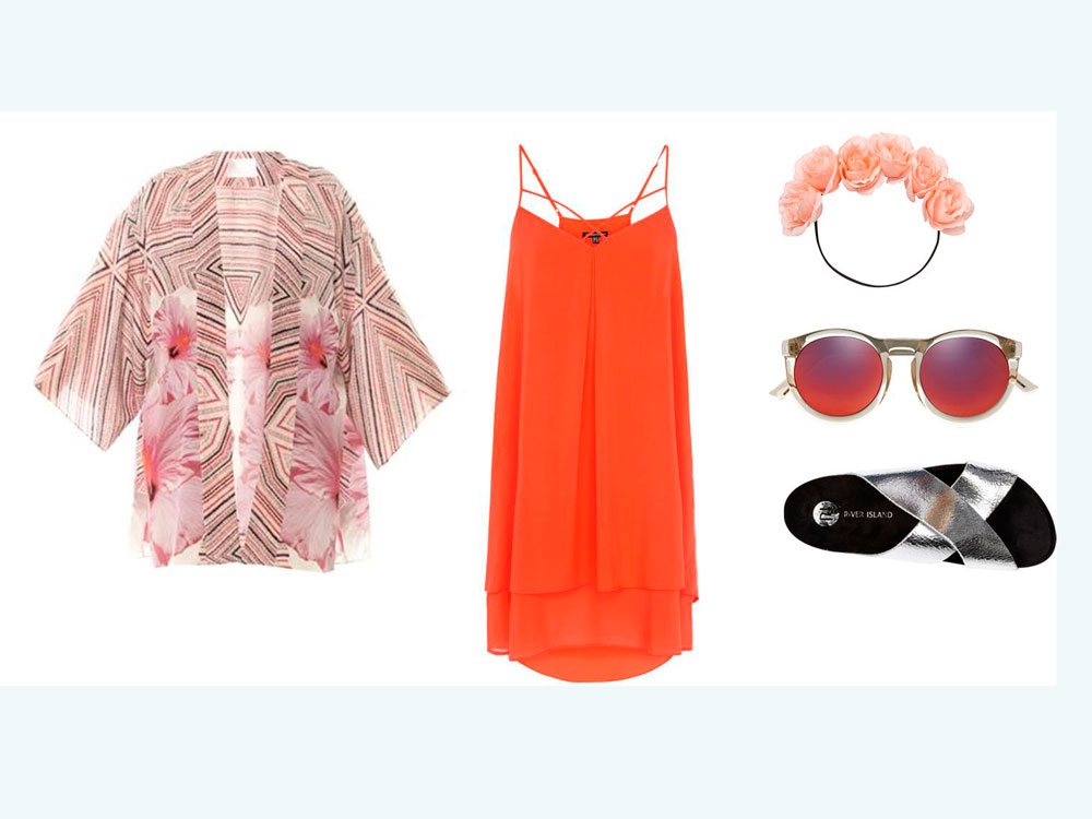 what-to-wear-for-a-summer-wedding-guest-outfit-beach-orange-dress-slip-pink-light-cardiganl-kimono-printed-floral-head-gray-shoe-sandals-sun-dinner.jpg