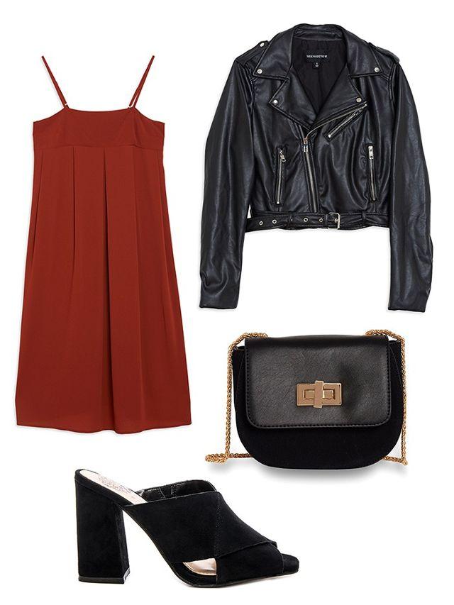 orange-dress-slip-black-jacket-moto-black-bag-black-shoe-sandalh-mules-howtowear-fall-winter-dinner.jpg