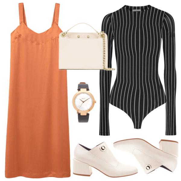 orange-dress-slip-black-top-bodysuit-stripe-white-bag-white-shoe-pumps-layer-watch-howtowear-fall-winter-lunch.jpg