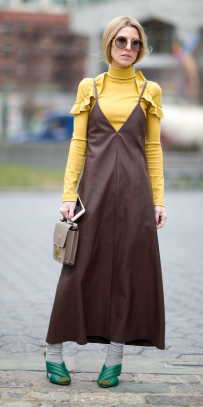 brown-dress-slip-maxi-yellow-sweater-turtleneck-layer-socks-green-shoe-sandalh-sun-pony-howtowear-fall-winter-blonde-lunch.jpg