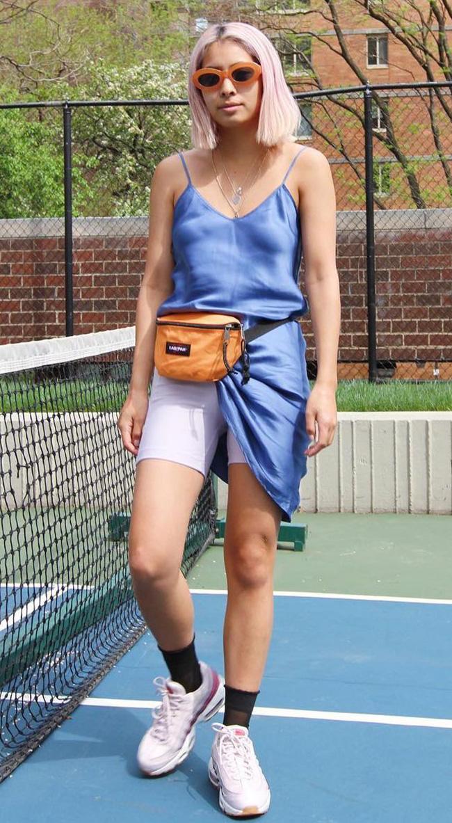 white-shorts-cycling-bike-blue-med-dress-slip-orange-bag-fannypack-socks-trend-blonde-lob-sun-pink-shoe-sneakers-spring-summer-weekend.jpg