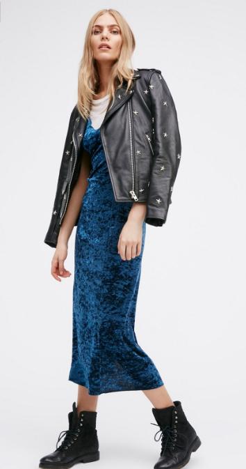 blue-navy-dress-white-tee-black-jacket-moto-black-shoe-booties-slip-wear-style-fashion-fall-winter-velvet-freepeople-outfit-blonde-cobalt-lunch.jpg