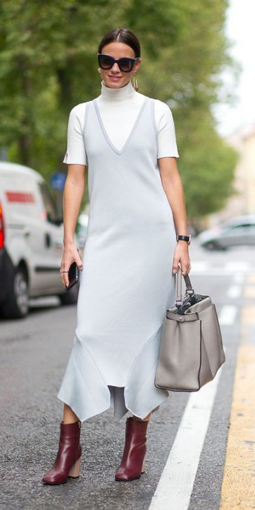 grayl-dress-slip-white-sweater-turtleneck-sun-earrings-bun-gray-bag-tote-burgundy-shoe-booties-spring-summer-hairr-work.jpg