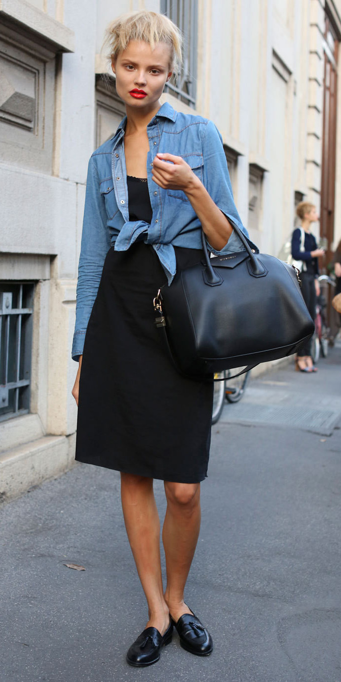 black-dress-blue-light-collared-shirt-black-shoe-loafers-black-bag-slip-howtowear-fashion-style-outfit-spring-summer-blonde-lunch.jpg