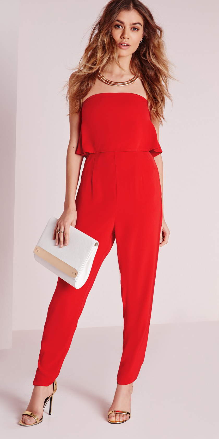 red-jumpsuit-white-bag-clutch-necklace-hairr-tan-shoe-sandalh-gold-strapless-fall-winter-dinner.jpg