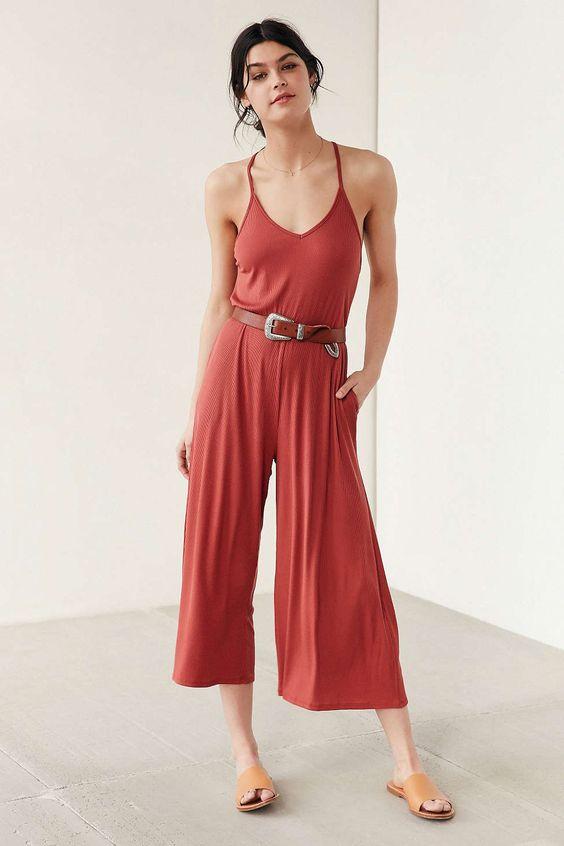 red-jumpsuit-belt-brun-bun-tan-shoe-sandals-spring-summer-weekend.jpg