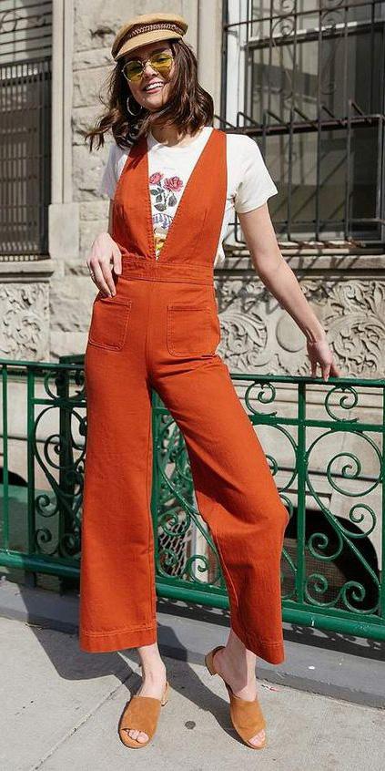 orange-jumpsuit-white-graphic-tee-cognac-shoe-sandals-hat-sun-hoops-hairr-spring-summer-lunch.jpg