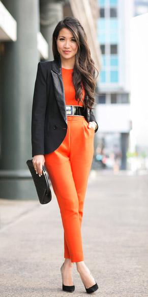 orange-jumpsuit-black-jacket-blazer-black-bag-black-shoe-pumps-belt-howtowear-fall-winter-brun-work.jpg