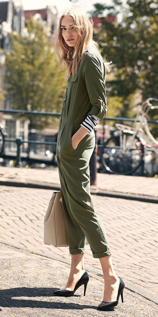 green-olive-jumpsuit-black-tee-stripe-black-shoe-pumps-layer-tan-bag-tote-howtowear-fall-winter-blonde-work.jpg