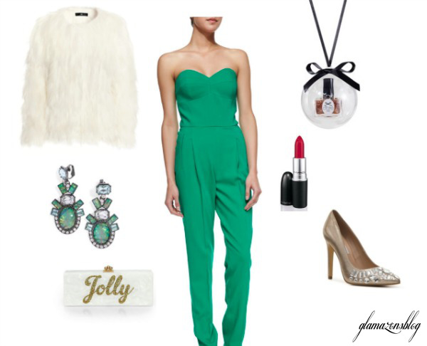green-emerald-jumpsuit-white-jacket-coat-fur-fuzz-earrings-necklace-pend-tan-shoe-pumps-white-bag-clutch-holiday-party-howtowear-fashion-style-outfit-spring-summer-wedding-dinner.jpg