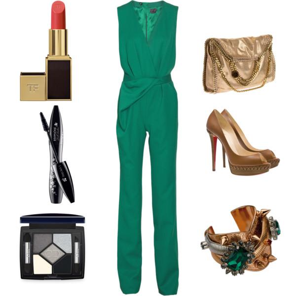 green-emerald-jumpsuit-tan-shoe-pumps-tan-bag-bracelet-howtowear-fashion-style-outfit-spring-summer-dinner.jpg