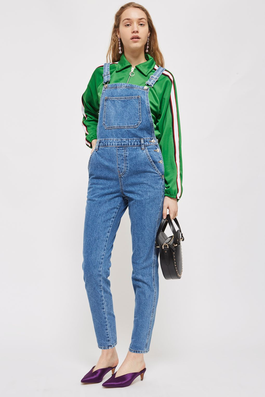 blue-med-jumpsuit-denim-overalls-green-emerald-jacket-bomber-layer-blonde-black-bag-purple-shoe-pumps-fall-winter-lunch.jpg