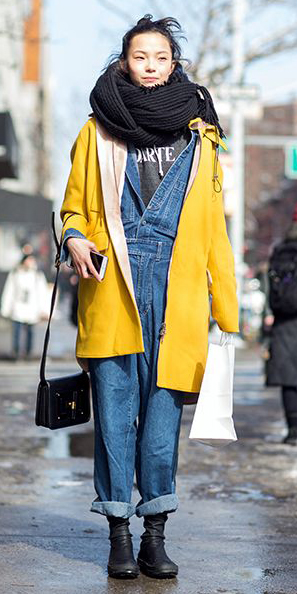 blue-med-jumpsuit-yellow-howtowear-fashion-style-outfit-fall-winter-denim-overalls-black-scarf-blanket-coat-booties-weekend.jpg