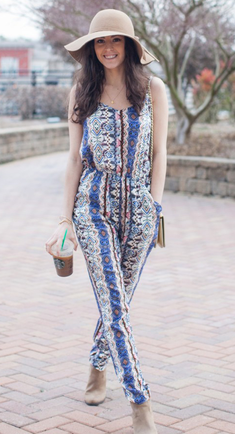 blue-med-jumpsuit-print-tan-bag-hat-tan-shoe-booties-howtowear-fashion-style-outfit-spring-summer-brun-lunch.jpg