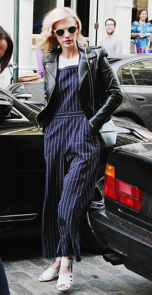 blue-navy-jumpsuit-pinstripe-black-jacket-moto-white-shoe-sandalh-sun-januaryjones-howtowear-spring-summer-blonde-lunch.jpg