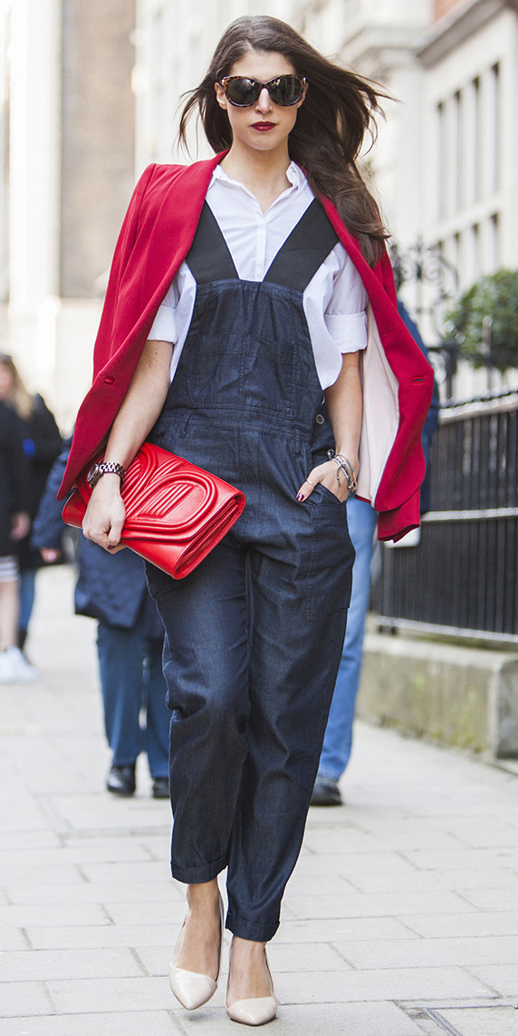 how-to-style-blue-navy-jumpsuit-denim-overalls-white-collared-shirt-red-bag-clutch-hairr-sun-red-jacket-blazer-white-shoe-pumps-fall-winter-fashion-lunch.jpg