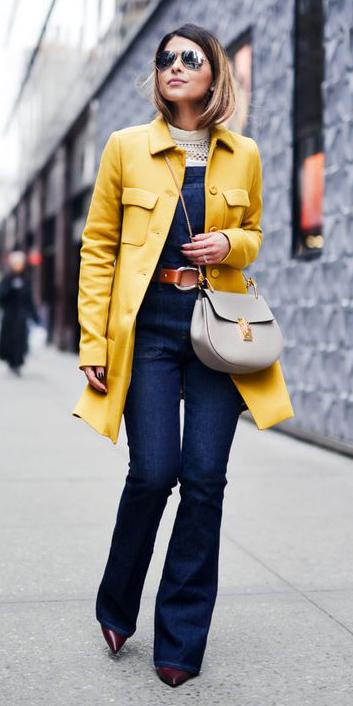 blue-navy-jumpsuit-belt-white-sweater-layer-gray-bag-yellow-jacket-coat-hairr-sun-fall-winter-lunch.jpg