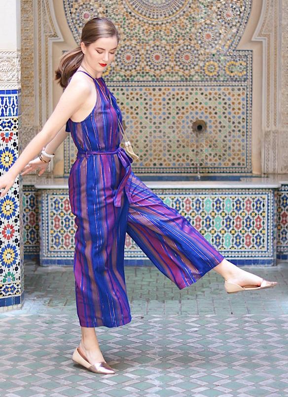purple-royal-jumpsuit-vertical-stripe-tan-shoe-flats-pony-howtowear-spring-summer-hairr-lunch.JPG