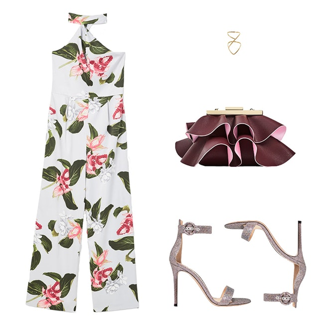 what-to-wear-for-a-summer-wedding-guest-outfit-white-jumpsuit-floral-print-burgundy-bag-clutch-gray-shoe-sandalh-dinner.jpg