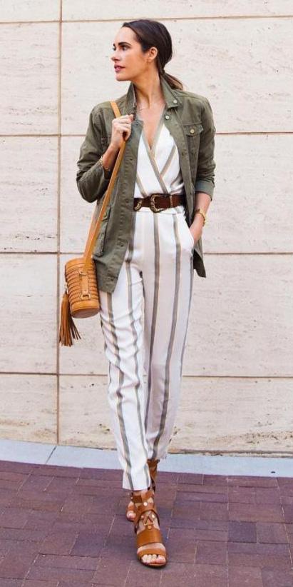 white-jumpsuit-vertical-stripe-wide-belt-hairr-pony-cognac-bag-cognac-shoe-sandalh-green-olive-jacket-utility-spring-summer-lunch.jpg