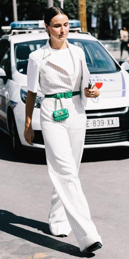 white-jumpsuit-green-bag-fannypack-hairr-white-tee-layer-spring-summer-lunch.jpg