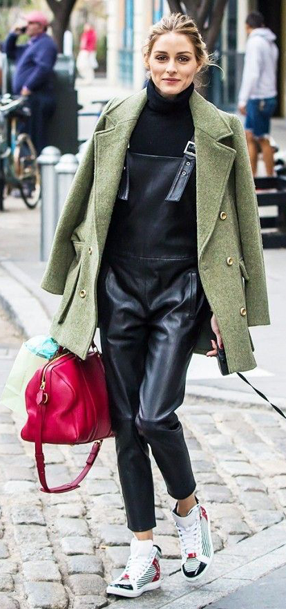 black-jumpsuit-black-sweater-green-olive-jacket-coat-hairr-bun-overalls-style-outfit-fall-winter-white-shoe-sneakers-turtleneck-oliviapalermo-red-bag-celebrity-lunch.jpg