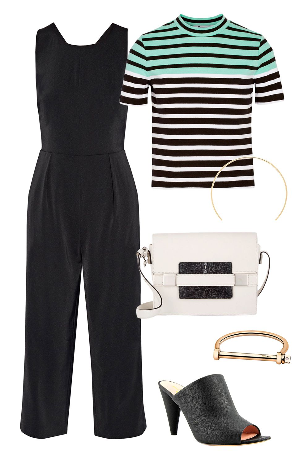 how-to-style-black-jumpsuit-layer-green-light-tee-stripe-white-bag-black-shoe-sandalh-fall-winter-fashion-work.jpg