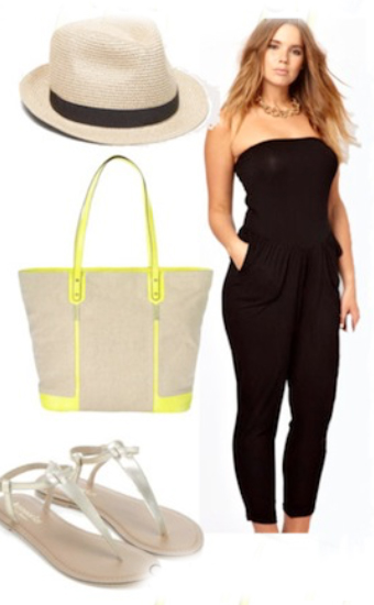 black-jumpsuit-spring-summer-gray-shoe-sandals-wear-fashion-style-beach-tan-bag-tote-hat-panama-strapless-hairr-weekend.jpg