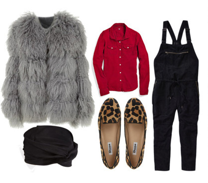 how-to-style-black-jumpsuit-overalls-red-collared-shirt-tan-shoe-flats-leopard-print-grayl-jacket-coat-fur-fall-winter-fashion-lunch.jpg