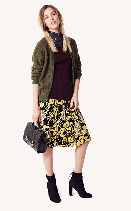 yellow-aline-skirt-print-burgundy-sweater-green-olive-jacket-bomber-black-scarf-neck-black-bag-fall-winter-blonde-lunch.jpg