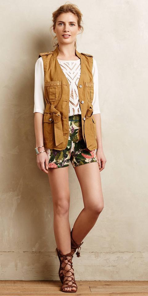 green-olive-shorts-print-white-top-lace-blonde-camel-vest-utility-brown-shoe-sandals-anthropologie-spring-summer-weekend.jpg