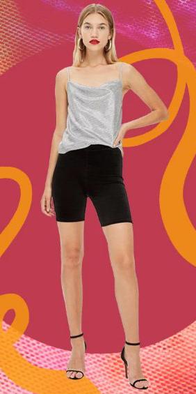 black-shorts-cycling-bike-grayl-cami-metallic-hoops-blonde-black-shoe-sandalh-spring-summer-dinner.jpg