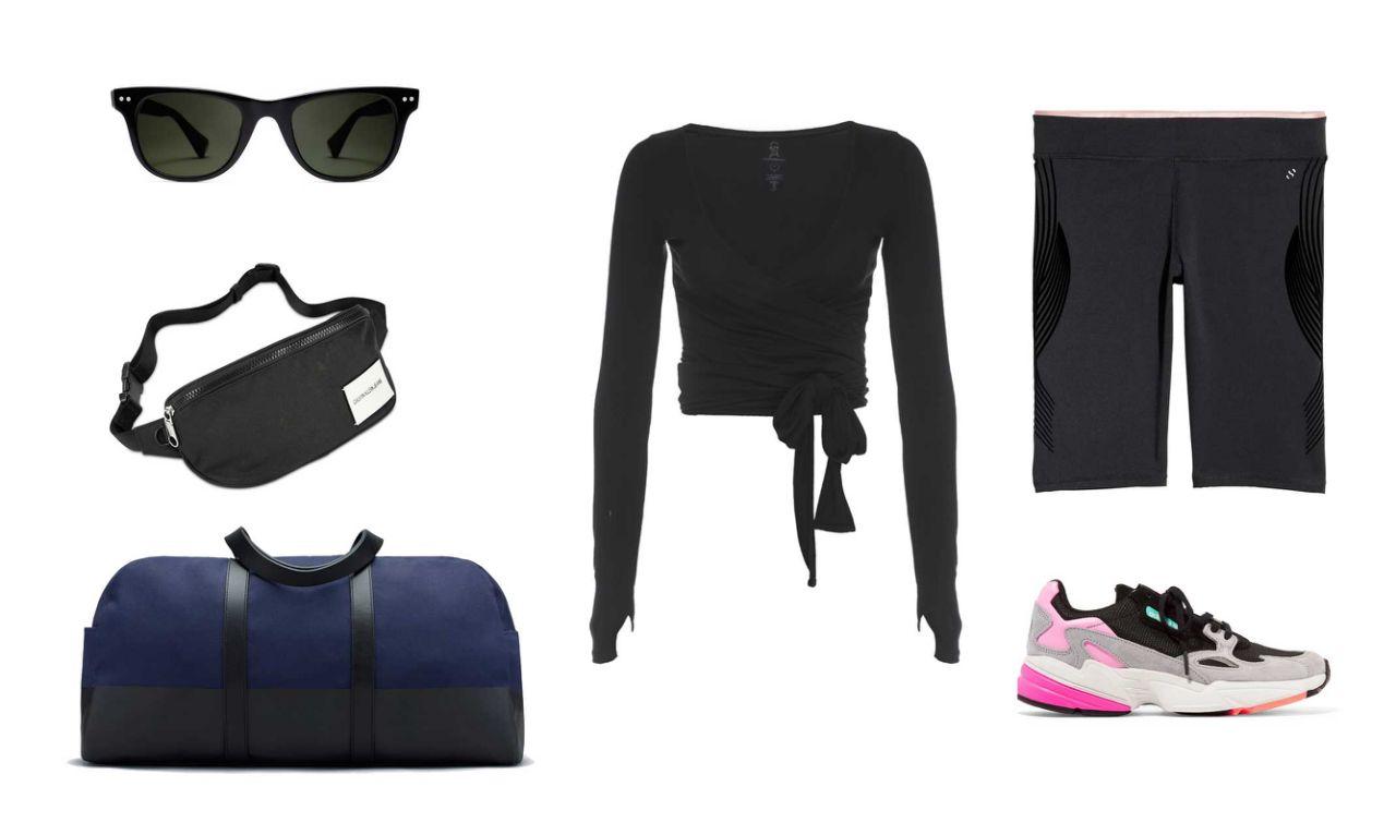 black-shorts-cycling-bike-pink-shoe-sneakers-black-bag-fannypack-black-tee-sun-gym-workout-athleisure-spring-summer-weekend.jpg