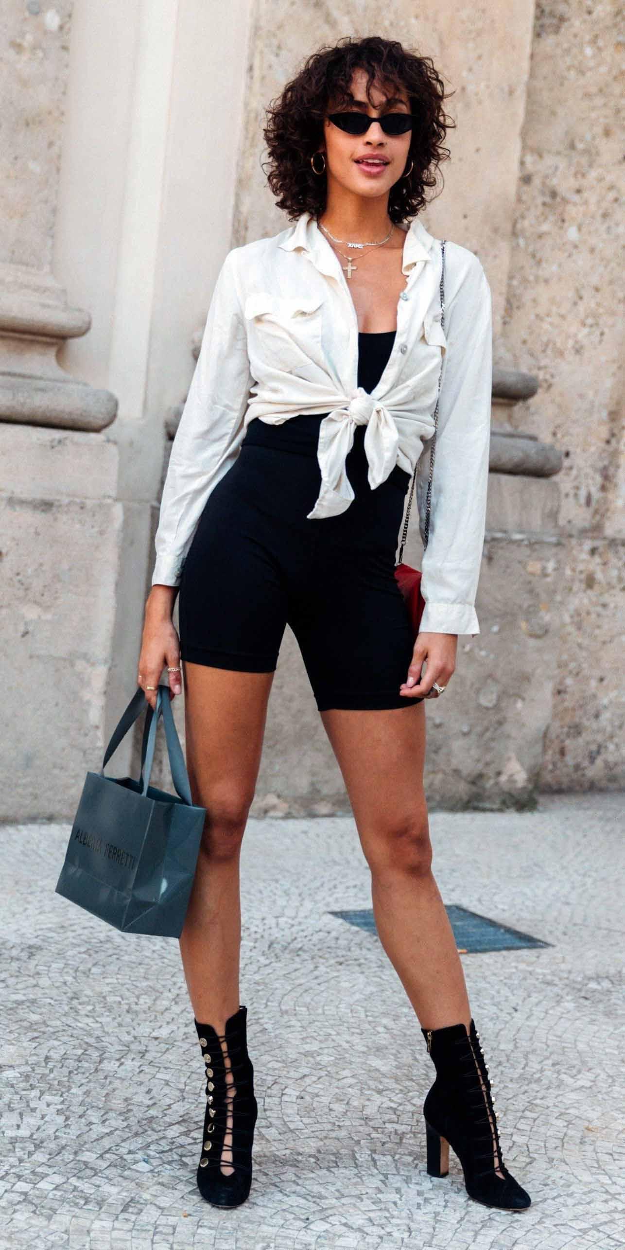 black-shorts-cycling-bike-white-collared-shirt-necklace-brun-sun-black-shoe-booties-spring-summer-lunch.jpg