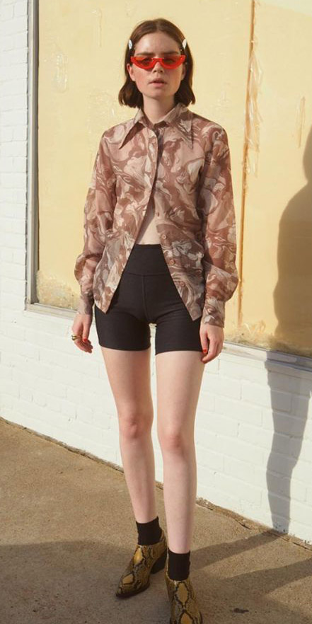 black-shorts-cycling-bike-tan-top-blouse-sun-socks-yellow-shoe-booties-snakeskin-hairr-bob-spring-summer-weekend.jpg