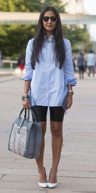 black-shorts-cycling-bike-blue-light-collared-shirt-brun-sun-gray-bag-bracelet-white-shoe-pumps-spring-summer-lunch.jpg