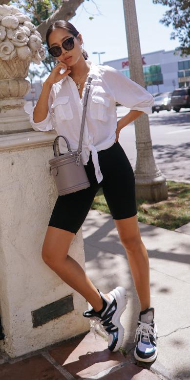 black-shorts-cycling-bike-white-shoe-sneakers-gray-bag-white-collared-shirt-brun-sun-hoops-necklace-spring-summer-weekend.jpg