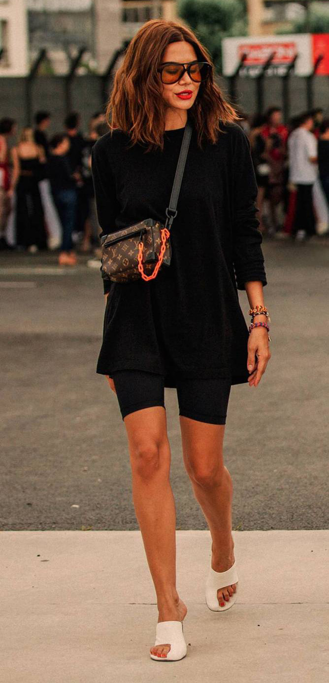 black-sweater-brown-bag-sun-hairr-lob-white-shoe-sandalh-black-shorts-cycling-bike-spring-summer-dinner.jpg