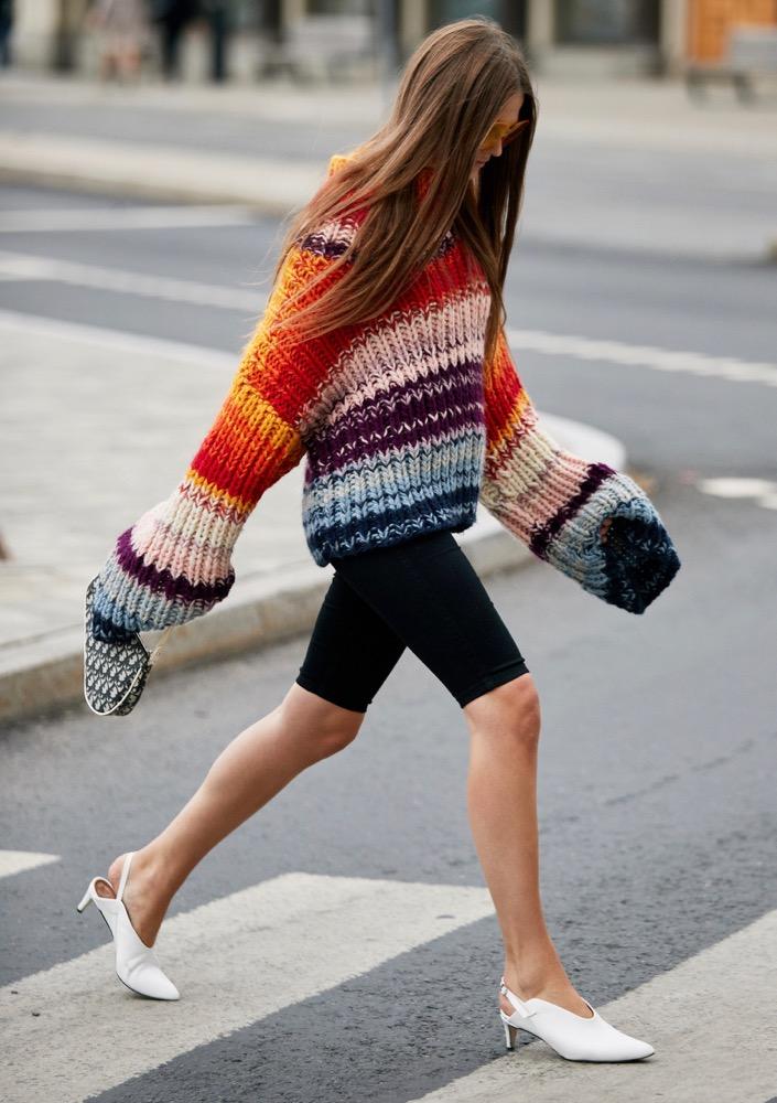 black-shorts-cycling-bike-white-shoe-pumps-stripe-rainbow-red-sweater-bellsleeve-hairr-fall-winter-lunch.jpg