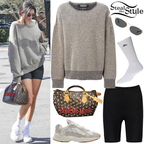 black-shorts-cycling-bike-grayl-sweater-sweatshirt-sun-brun-brown-bag-white-shoe-sneakers-socks-kendalljenner-fall-winter-weekend.jpg