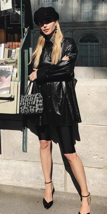 black-shorts-cycling-bike-black-jacket-coat-blonde-earrings-hat-newsboycap-black-shoe-pumps-black-bag-fall-winter-lunch.jpg